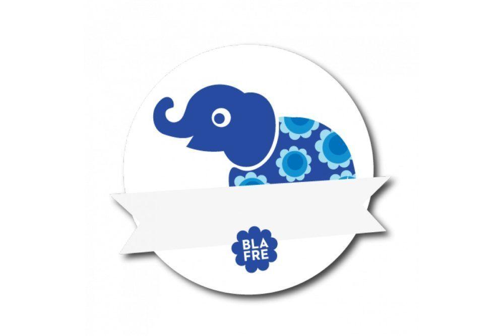 Navnemærke, Elefant blå-0