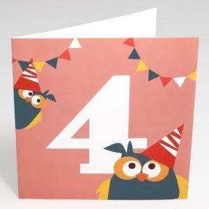 Kort Ugler (Stor) - 4 år fødselsdag-0