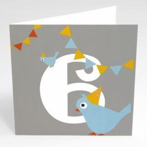Kort fugl (Stor) - 6 år fødselsdag-0