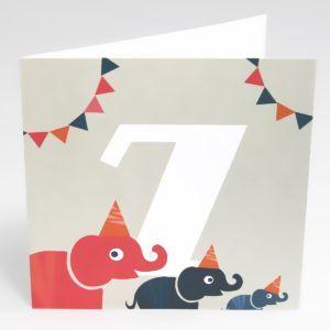 Kort Elefanter (Stor) - 7 år fødselsdag-0