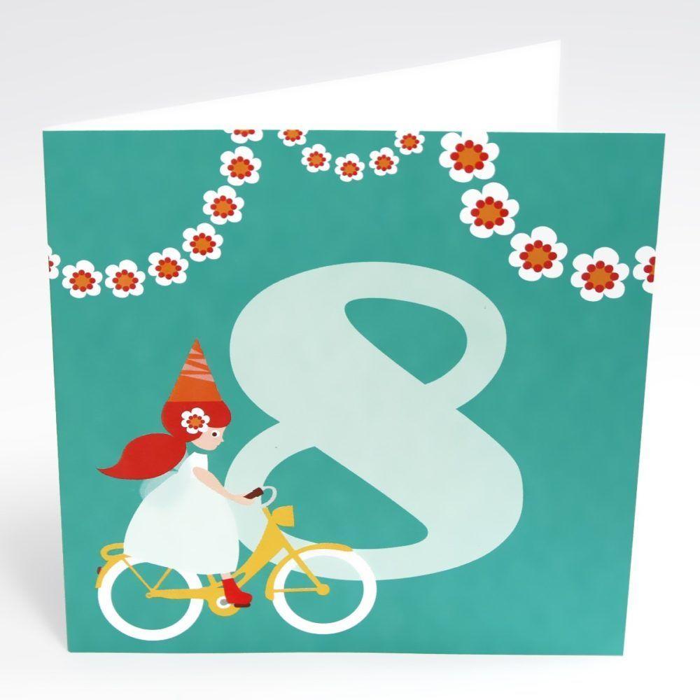 Kort pige på cykel (Stor) - 8 år fødselsdag-0