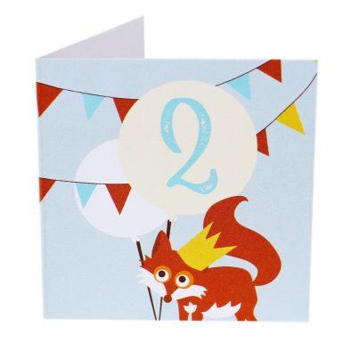 Kort Fødselsdag 2 år ræv (Lille)-0
