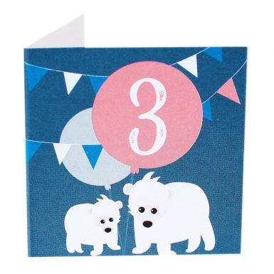 Kort Fødselsdag 3 år isbjørne (Lille)-0