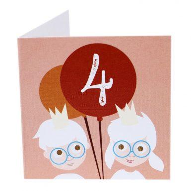 Kort Fødselsdag 4 år dreng/pige(Lille)-0