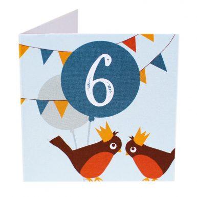 Kort Fødselsdag 6 år fugle (Lille)-0